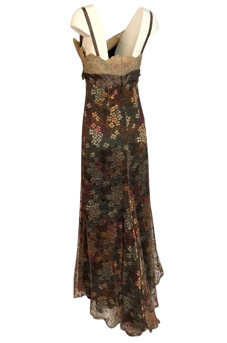 Women's F/W 1995 Christian Lacroix Stunning Metallic Gold & Copper Lace Dress For Sale