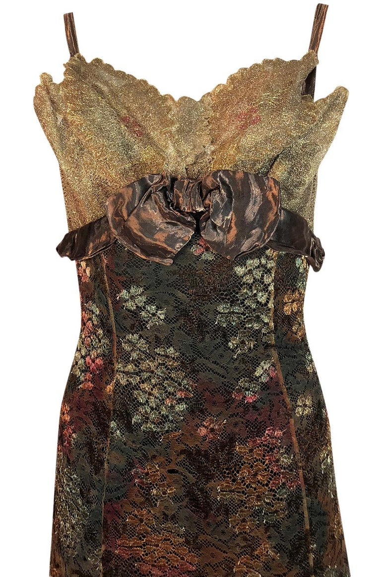 F/W 1995 Christian Lacroix Stunning Metallic Gold & Copper Lace Dress For Sale 1