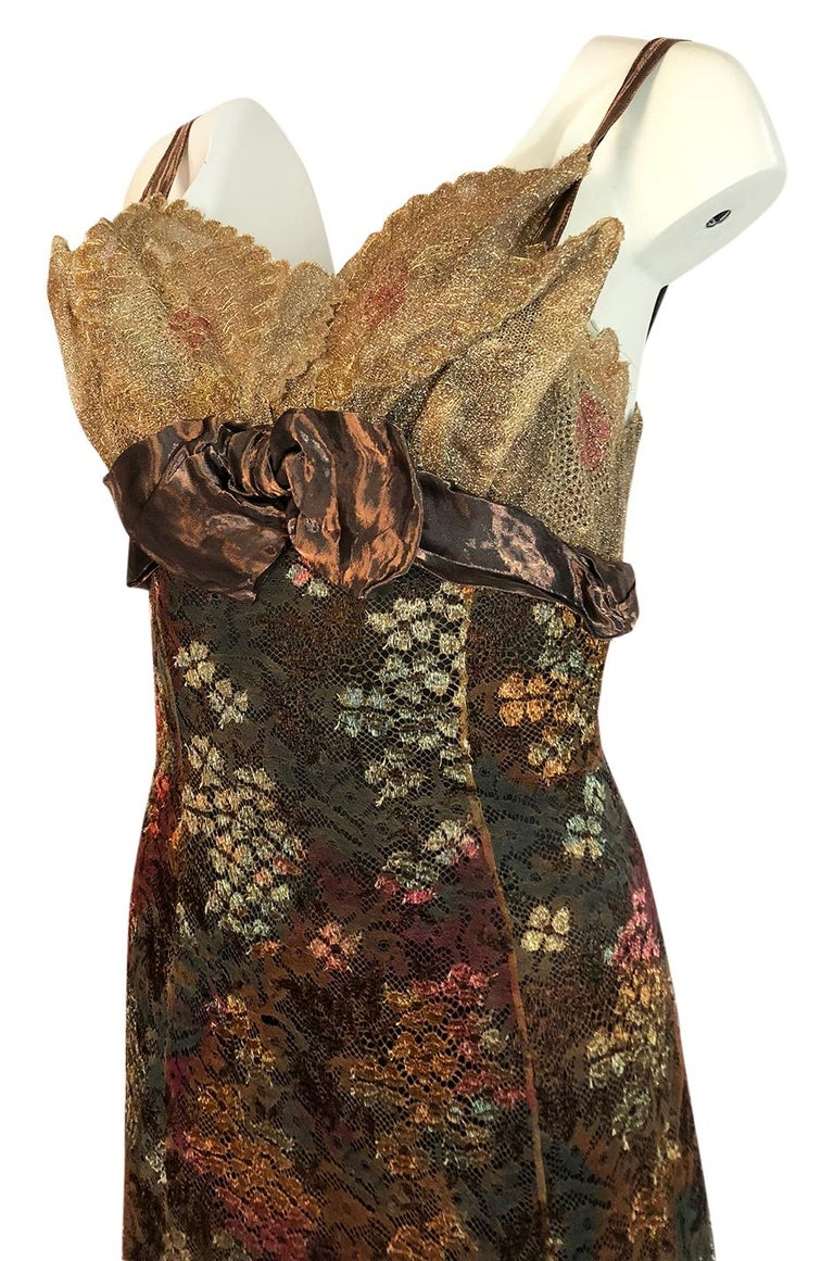 F/W 1995 Christian Lacroix Stunning Metallic Gold & Copper Lace Dress For Sale 2