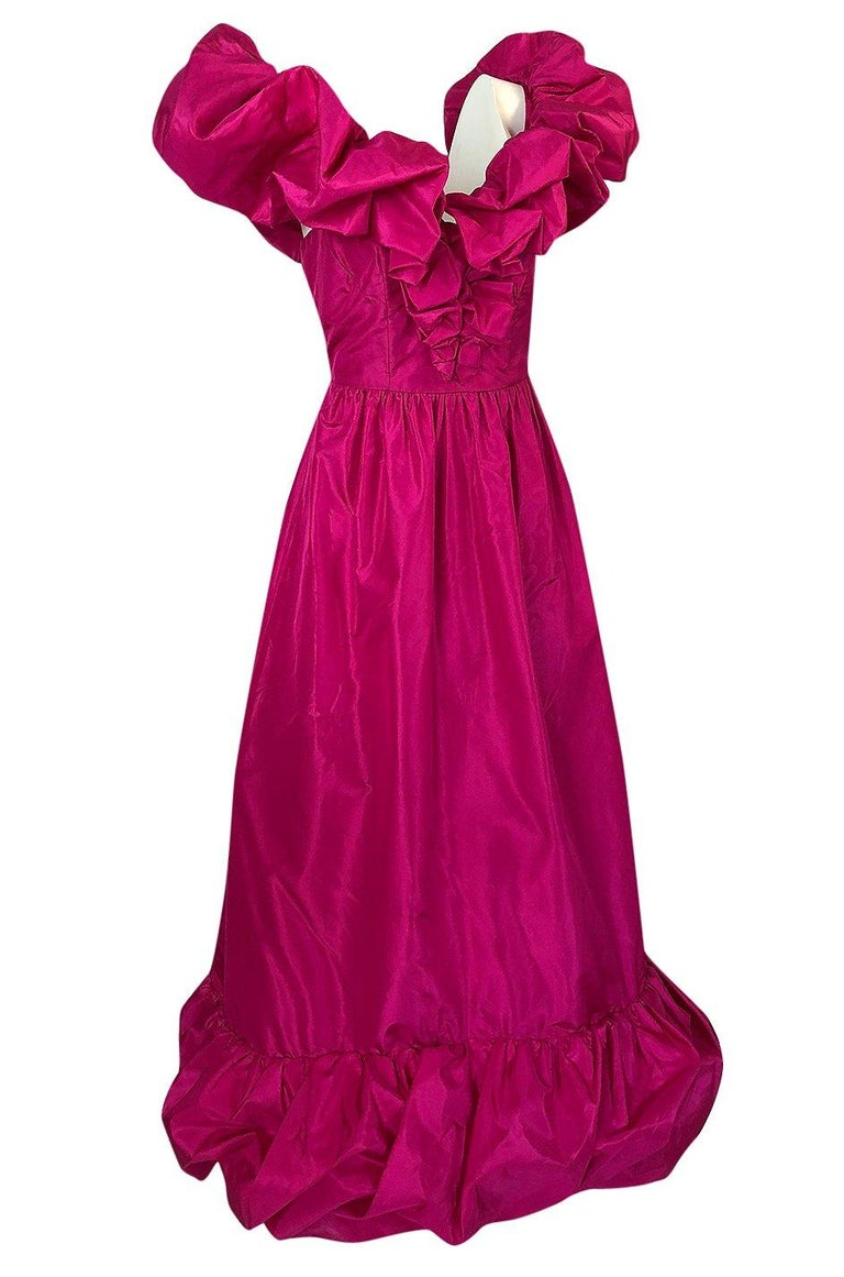 1980s Loris Azzaro Couture Bright Pink Silk Taffeta Backless Plunge Dress In Excellent Condition For Sale In Rockwood, ON