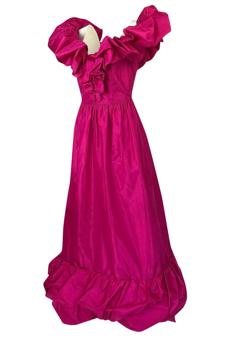 Women's 1980s Loris Azzaro Couture Bright Pink Silk Taffeta Backless Plunge Dress For Sale