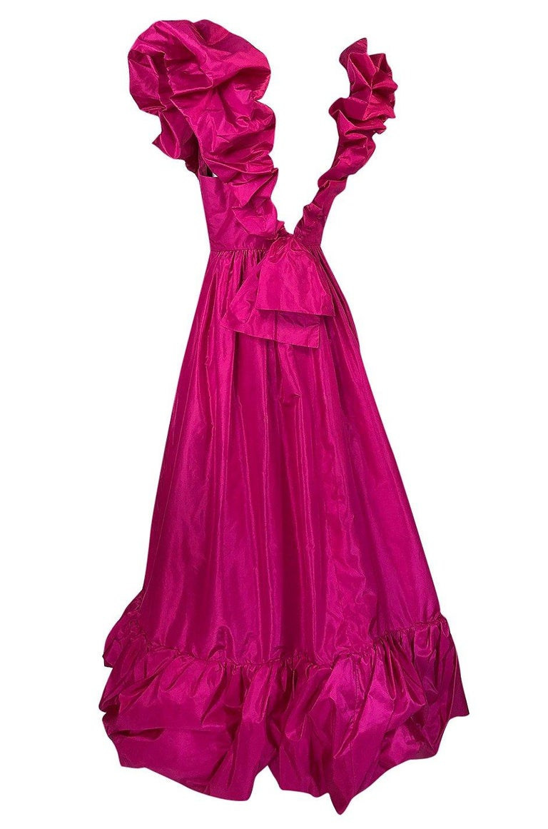 1980s Loris Azzaro Couture Bright Pink Silk Taffeta Backless Plunge Dress For Sale 1