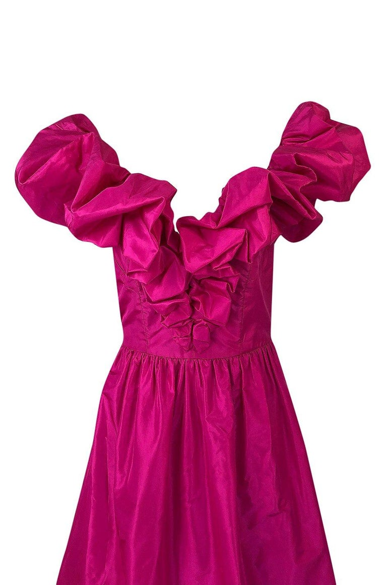 1980s Loris Azzaro Couture Bright Pink Silk Taffeta Backless Plunge Dress For Sale 2