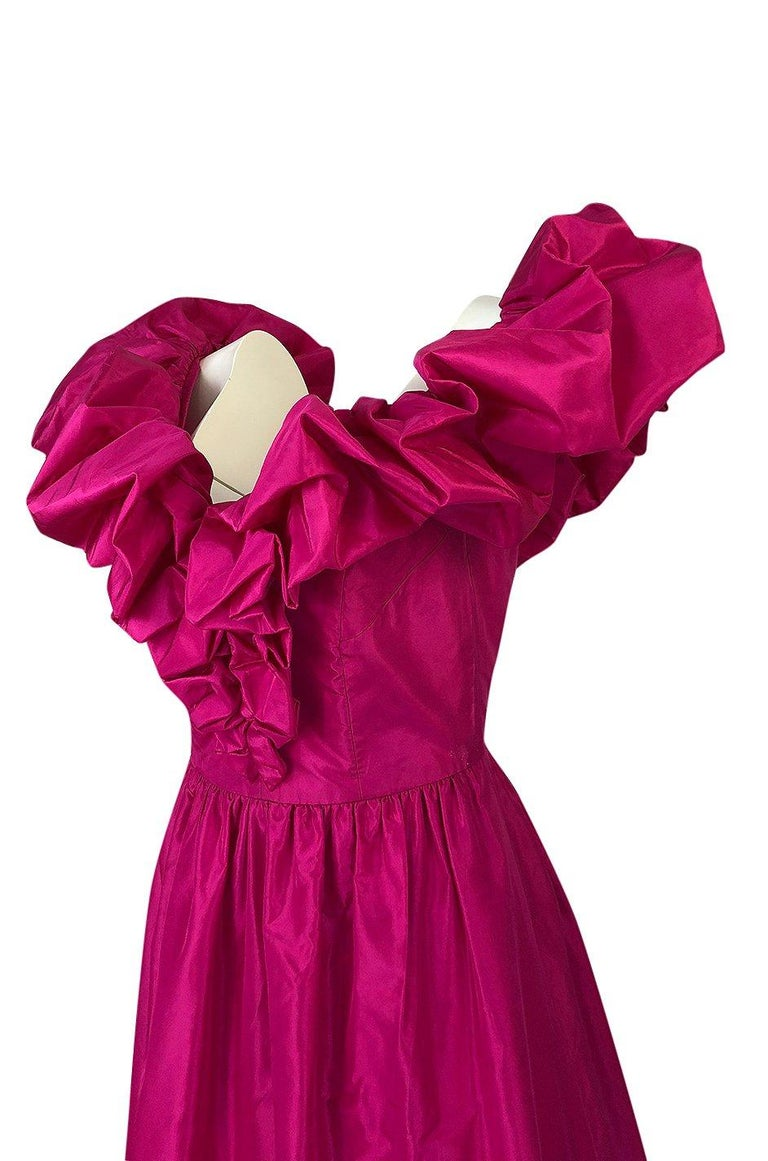 1980s Loris Azzaro Couture Bright Pink Silk Taffeta Backless Plunge Dress For Sale 3