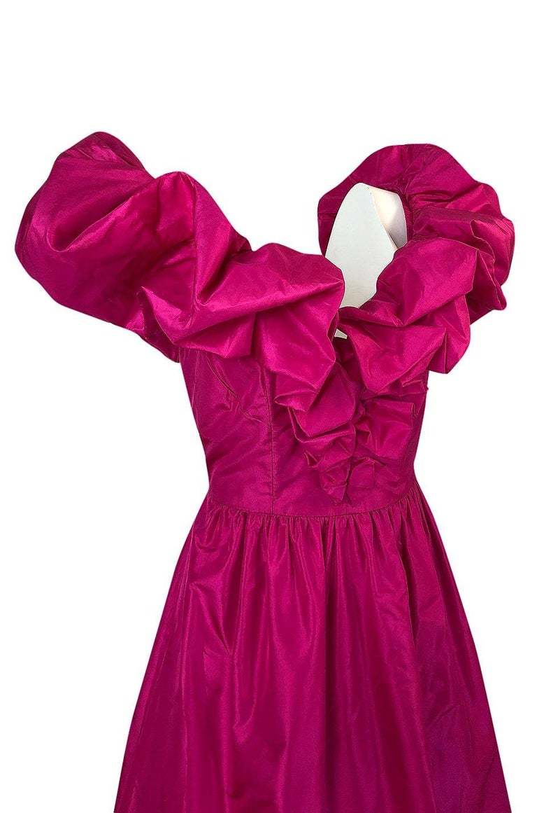 1980s Loris Azzaro Couture Bright Pink Silk Taffeta Backless Plunge Dress For Sale 4