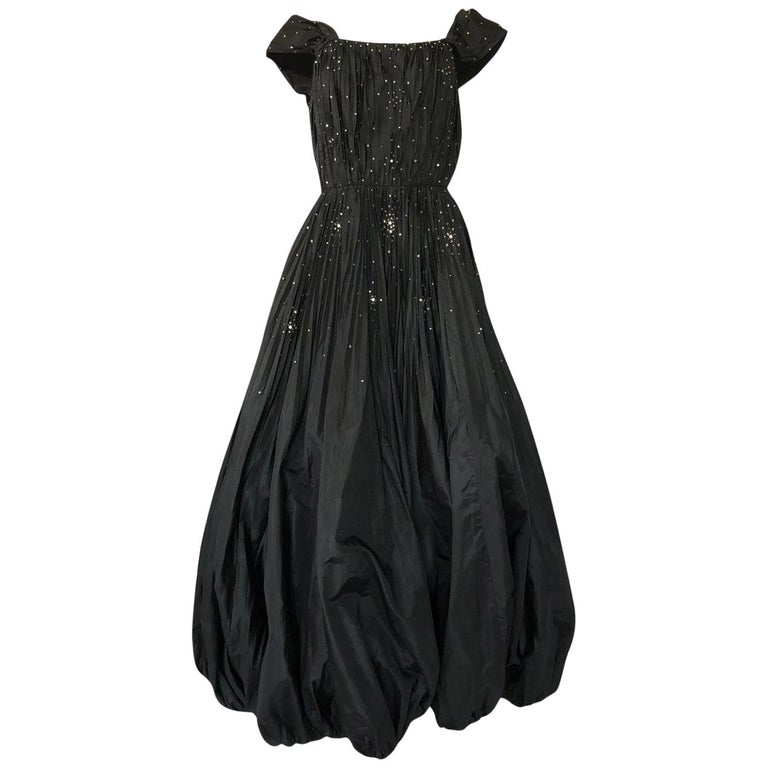 1950s Norman Hartnell Haute Couture Rhinestone Detailed Bubble Hem Dress For Sale