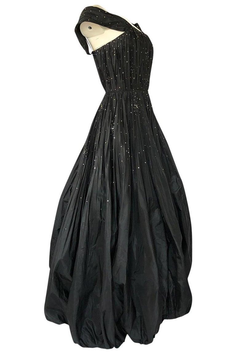 Black 1950s Norman Hartnell Haute Couture Rhinestone Detailed Bubble Hem Dress For Sale