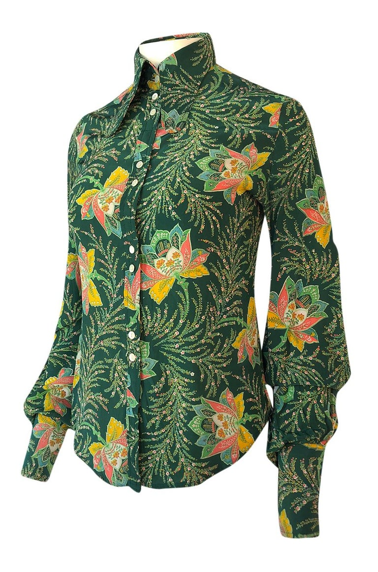 1970s Jeff Banks Green Floral Print Balloon Sleeve Silk