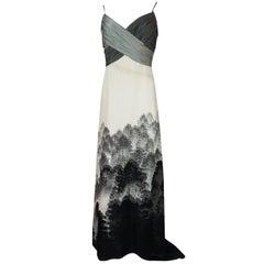 Hanae Mori Haute Couture Scenic Printed Silk Dress and Shawl, S/S 2000