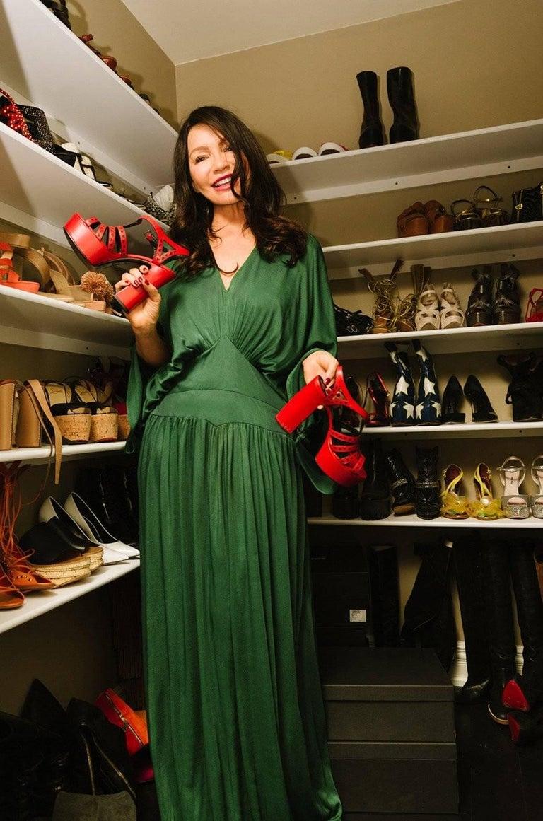1960s Jean Patou Demi-Couture Green Jersey Caftan Dress 9