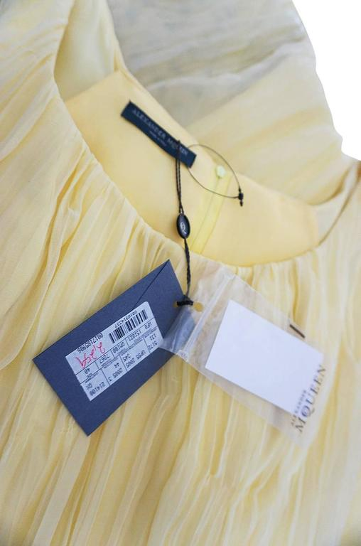F/W 2005 Alexander McQueen Documented Runway Yellow Silk Dress 8