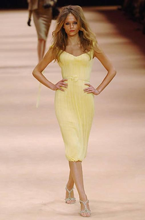 F/W 2005 Alexander McQueen Documented Runway Yellow Silk Dress 7