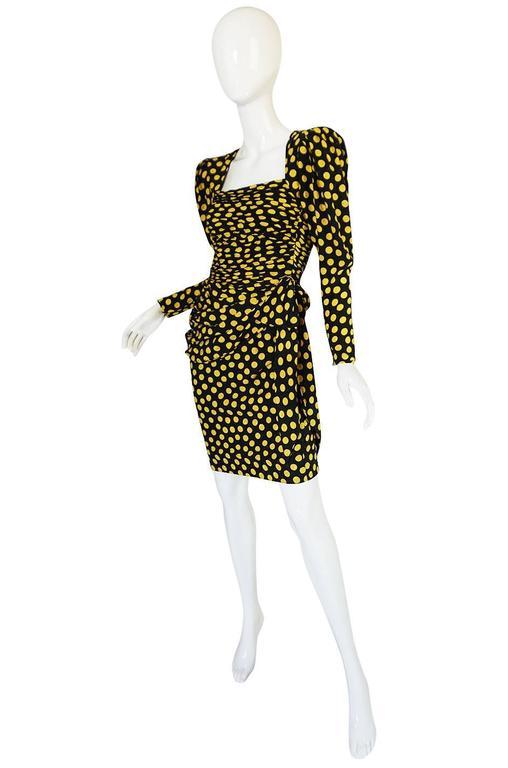 Black 1980s Joan Rivers Owned Ungaro Silk Dot Dress For Sale