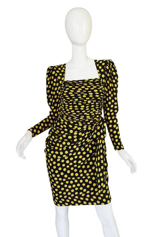 1980s Joan Rivers Owned Ungaro Silk Dot Dress In Excellent Condition For Sale In Toronto, ON