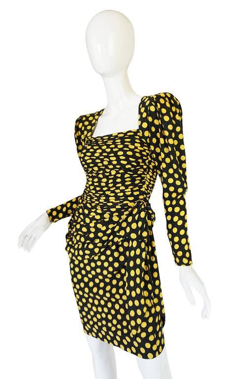 Women's 1980s Joan Rivers Owned Ungaro Silk Dot Dress For Sale