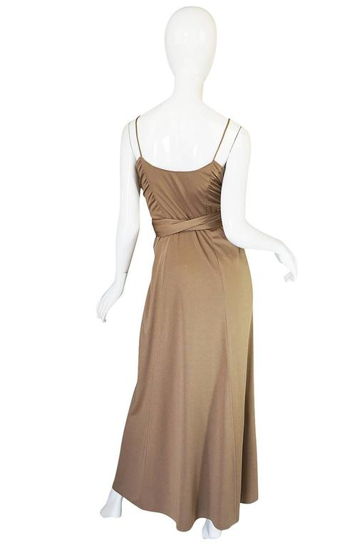 1970s Stephen Burrows Slinky Taupe Jersey Wrap Dress 2