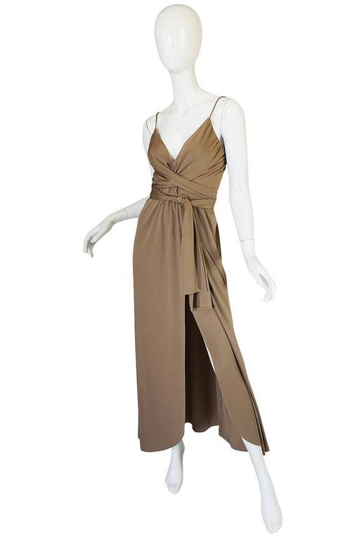 1970s Stephen Burrows Slinky Taupe Jersey Wrap Dress 5