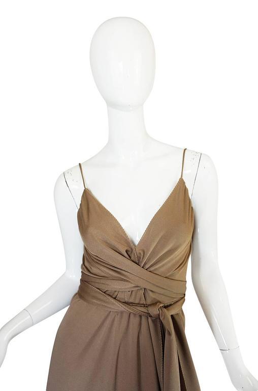 1970s Stephen Burrows Slinky Taupe Jersey Wrap Dress 4