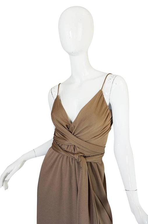 1970s Stephen Burrows Slinky Taupe Jersey Wrap Dress 3