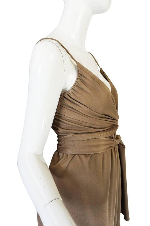 1970s Stephen Burrows Slinky Taupe Jersey Wrap Dress 6