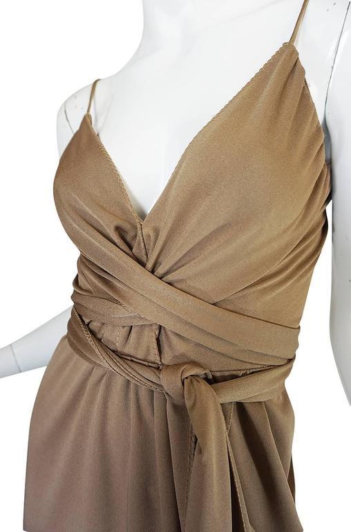 1970s Stephen Burrows Slinky Taupe Jersey Wrap Dress 7