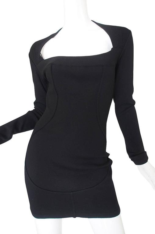Fall 1990 Azzedine Alaia Low Scooped Fitted Knit Dress 7