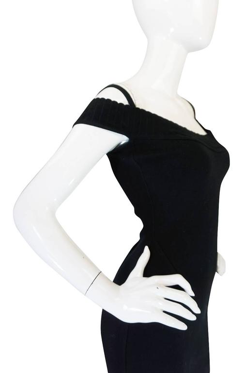 Black Spring 1992 Collection Azzedine Alaia Off Shoulder Dress For Sale