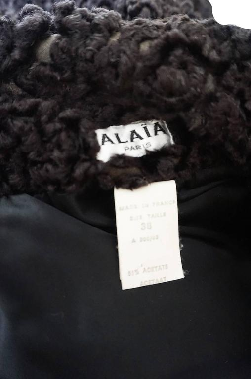 Important Fall 1991 Collection Alaia 'Astrakhan' Faux Fur Coat 7