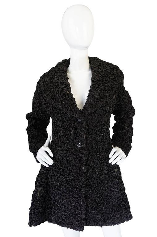 Important Fall 1991 Collection Alaia 'Astrakhan' Faux Fur Coat 3