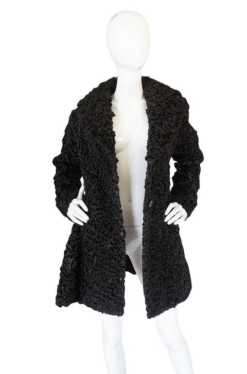 Important Fall 1991 Collection Alaia 'Astrakhan' Faux Fur Coat 4
