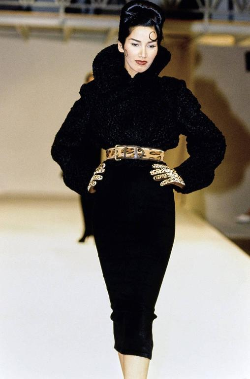 Important Fall 1991 Collection Alaia 'Astrakhan' Faux Fur Coat 10