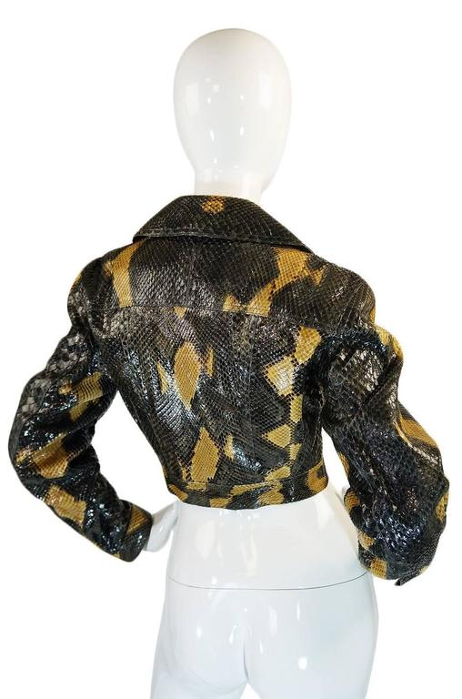 """This is an amazing and very rare, very limited production Azzedine Alaia custom made """"couture"""" level python skin biker jacket. In all probability there were only one or two of these made in the entire world and this certainly this is"""