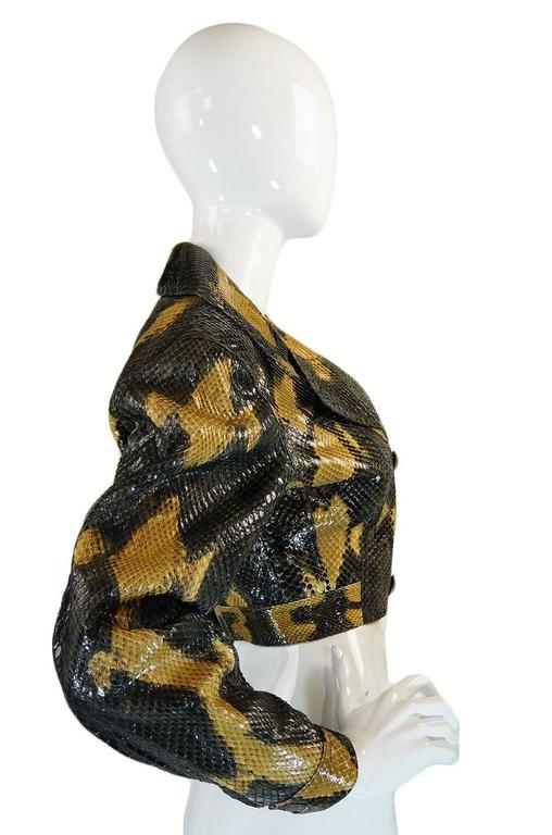 1991 Museum Held Alaia Exotic Python Skin Biker Jacket In Excellent Condition For Sale In Toronto, CA