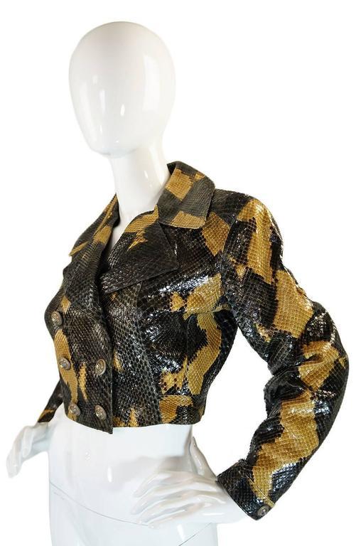 Black 1991 Museum Held Alaia Exotic Python Skin Biker Jacket For Sale