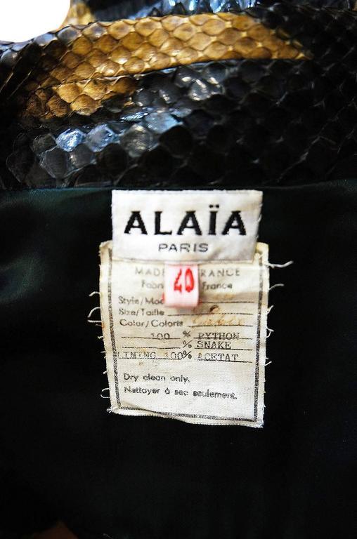 1991 Museum Held Alaia Exotic Python Skin Biker Jacket For Sale 3