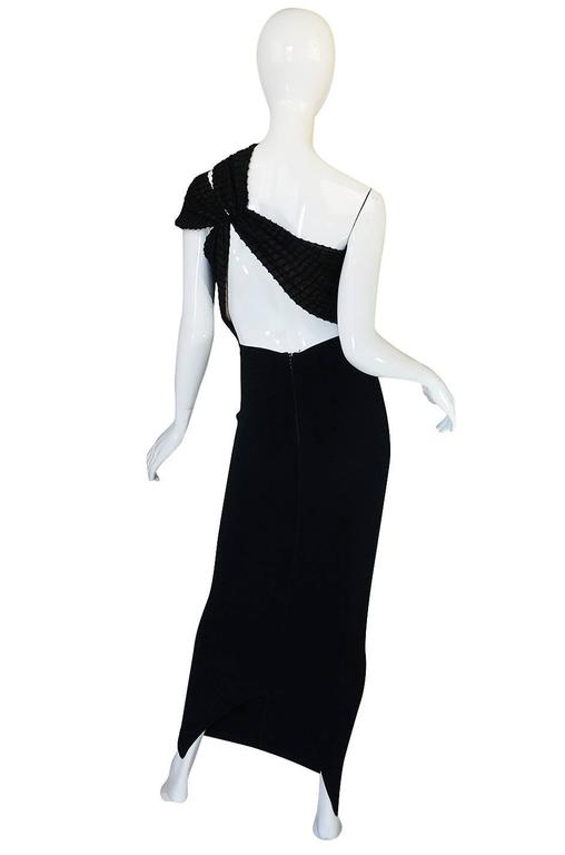 Important 1988-89 Azzedine Alaia Black One Shoulder Dress 2