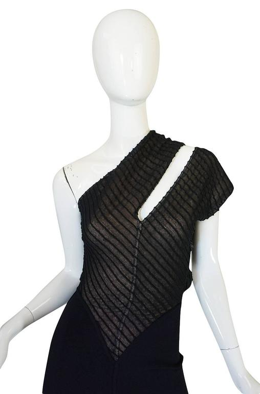 Important 1988-89 Azzedine Alaia Black One Shoulder Dress 5