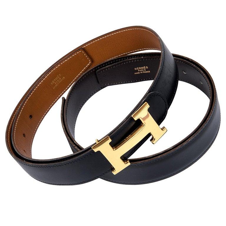 Two Hermes Reversible Vintage Belts 70cm - Tan/Black & Choc/Black Gold H Buckle