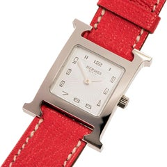 AS NEW - A Boxed Hermes Ladies 'Heure H' double Strap Silver Palladium Watch