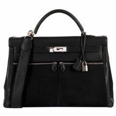 Rare Hermes 40cm Black on Black kelly 'Lakis' Bag with Palladium Hardware