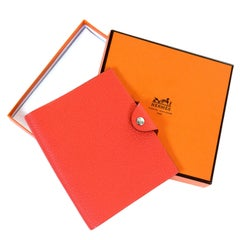 'AS NEW' Hermes 'Ulysse' MM Red Togo  Porte Agenda with it's Unused Pad