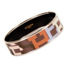 Exquisite Hermes Large Palladium & Enamel Signature Bangle