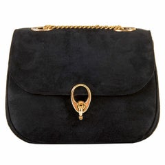 Classic Celine of Paris Black Suede Shoulder Bag or Clutch