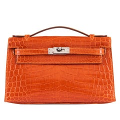 SO SO Rare Hermes Mini Kelly in Orange Crocodile & Silver Hardware - Silver HW