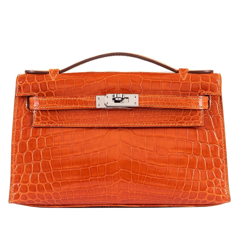 Hermes Mini Kelly Crocodile Clutch in Orange with Silver Palladium Hardware  1