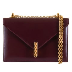 A Rare Hermes 'Alcazar' Evening Bag in Burgundy Box Calfskin Leather