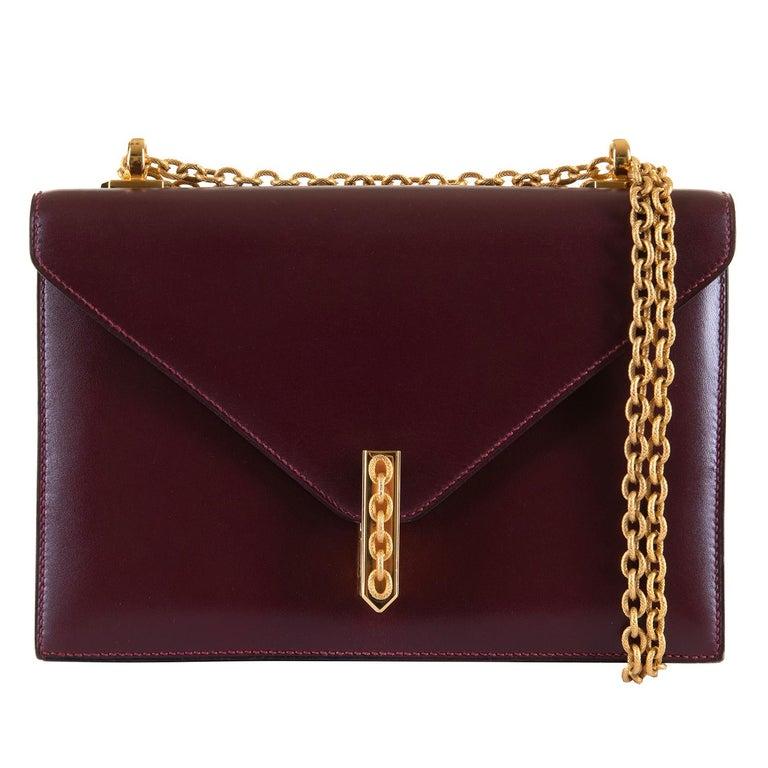 A Rare Hermes 'Alcazar' Evening Bag in Burgundy Box Calfskin Leather