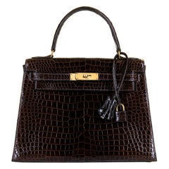 Pristine Hermes 28cm Kelly Dark Brown Crocodile Bag - Gold Hardware