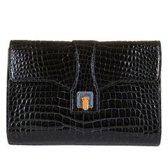 Very Rare Vintage Gucci Black Crocodile Clutch with a Lapis Lazuli Clasp