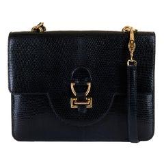 Rare Pristine Hermes Vintage Black Lizard 'Sandrine' shoulder Bag